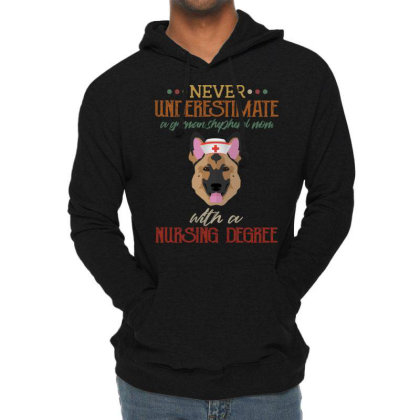 Never Underestimate A German Shepherd Mom With A Nursing Degree Lightweight Hoodie Designed By Vip.pro123