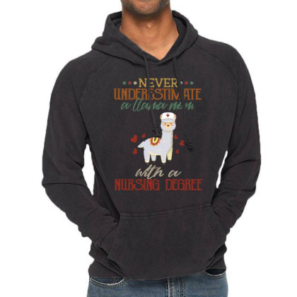 Never Underestimate A Llama Mom With A Nursing Degree Vintage Hoodie Designed By Vip.pro123