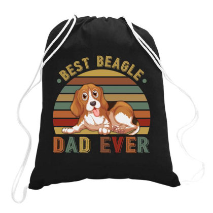 Best Beagle Dad Ever Retro Vintage Father's Day Drawstring Bags Designed By Vip.pro123