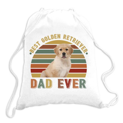 Best Golden Retriever  Dad Ever Retro Vintage Father's Day Drawstring Bags Designed By Vip.pro123