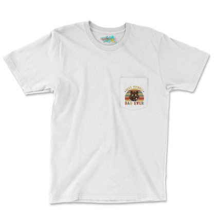 Best Pitbull  Dad Ever Retro Vintage Father's Day Pocket T-shirt Designed By Vip.pro123
