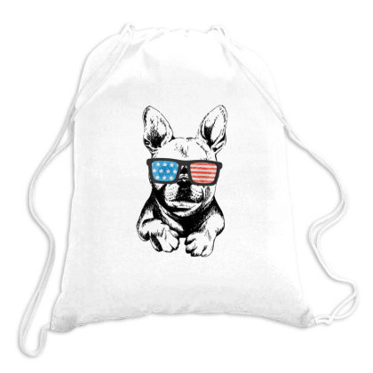 American Flag Frenchie Drawstring Bags Designed By Sabakotaboy