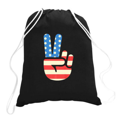American Flag Peace Sign Drawstring Bags Designed By Sabakotaboy