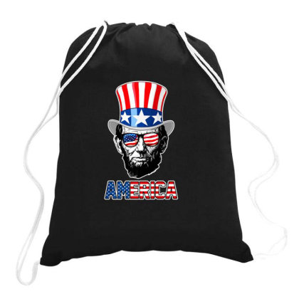 Abraham Lincoln America T Shirt Independence Day Drawstring Bags Designed By Sabakotaboy