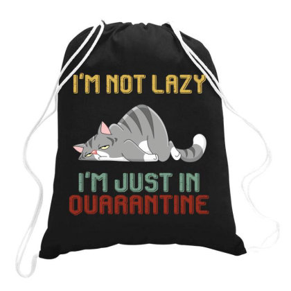 I'm Not Lazy I'm Just In Quarantine Cat Retro Vintage Drawstring Bags Designed By Vip.pro123