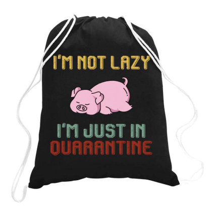 I'm Not Lazy I'm Just In Quarantine Pig Retro Vintage Drawstring Bags Designed By Vip.pro123