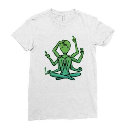Alien Hipster Yoga Namaste Meditating Spiritual Yogi Hippie Ladies Fitted T-shirt Designed By Sabakotaboy