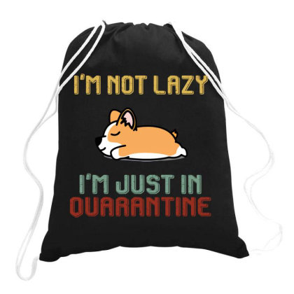I'm Not Lazy I'm Just In Quarantine Shinba Dog Retro Vintage Drawstring Bags Designed By Vip.pro123