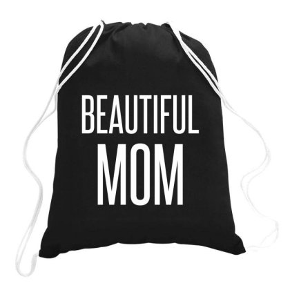 Beautiful Mom White Drawstring Bags Designed By Perfect Designers