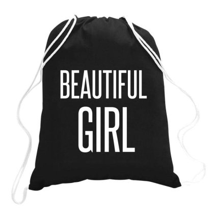 Beautiful Girl White Drawstring Bags Designed By Perfect Designers