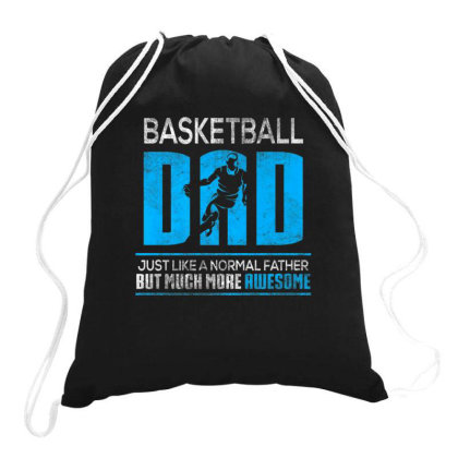 Basketball Dad Funny Distressed Father's Day Dad Gift Shirt Drawstring Bags Designed By Sabakotaboy