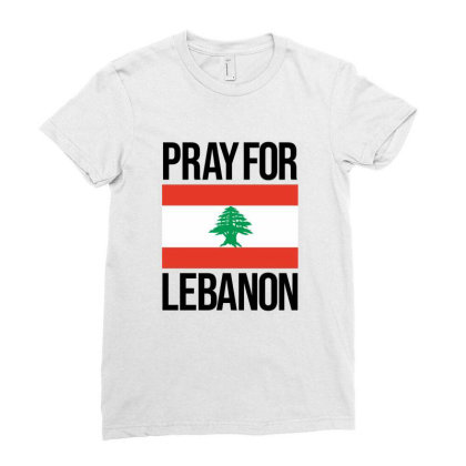 Pray For Lebanon Ladies Fitted T-shirt Designed By Lawrensia