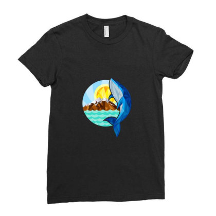 Whale,mountain & Sun Ladies Fitted T-shirt Designed By Chiks