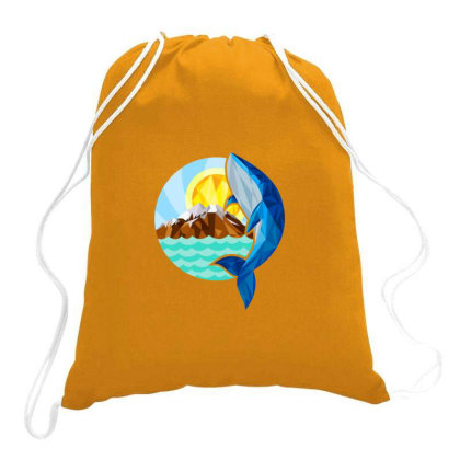 Whale,mountain & Sun Drawstring Bags Designed By Chiks
