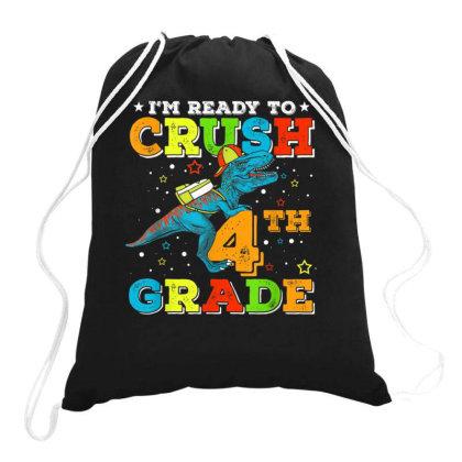 4th Grade Dinosaur T Rex Back To School Drawstring Bags Designed By Kakashop