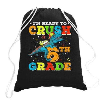 6th Grade Dinosaur T Rex Back To School Drawstring Bags Designed By Kakashop