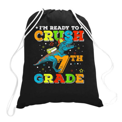 7th Grade Dinosaur T Rex Back To School Drawstring Bags Designed By Kakashop