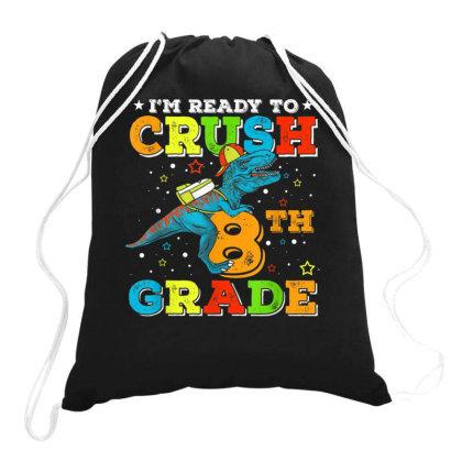 8th Grade Dinosaur T Rex Back To School Drawstring Bags Designed By Kakashop