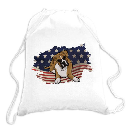 Boxer American Flag Usa Patriotic  4th Of July Gift Drawstring Bags Designed By Vip.pro123
