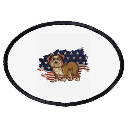 Bulldog American Flag Usa Patriotic  4th Of July Gift Oval Patch Designed By Vip.pro123