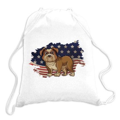 Bulldog American Flag Usa Patriotic  4th Of July Gift Drawstring Bags Designed By Vip.pro123
