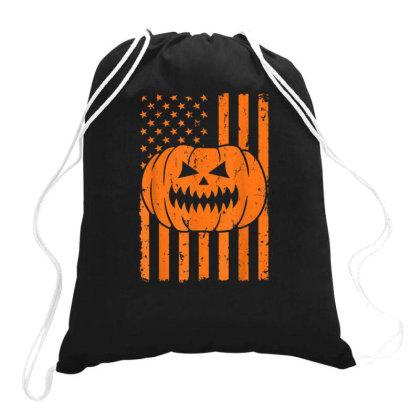 Halloween Usa Flag Pumpkin Patriotism Drawstring Bags Designed By Kakashop