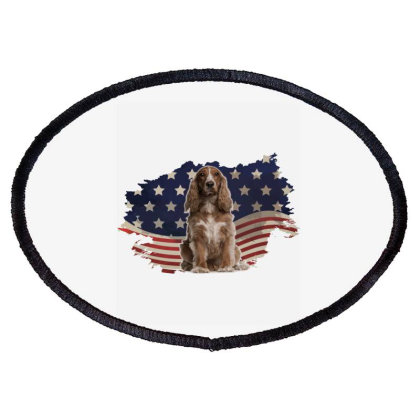Cocker Spaniel American Flag Usa Patriotic  4th Of July Gift Oval Patch Designed By Vip.pro123