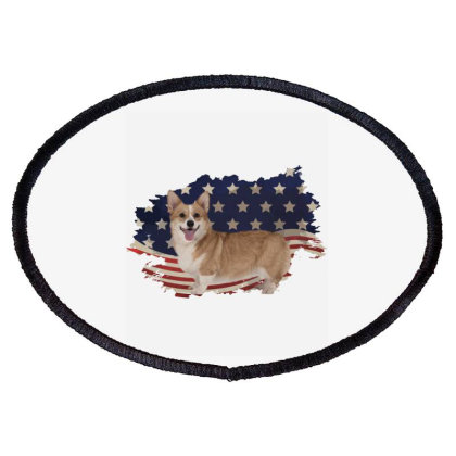 Corgi American Flag Usa Patriotic  4th Of July Gift Oval Patch Designed By Vip.pro123