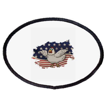 Chicken American Flag Usa Patriotic  4th Of July Gift Oval Patch Designed By Vip.pro123