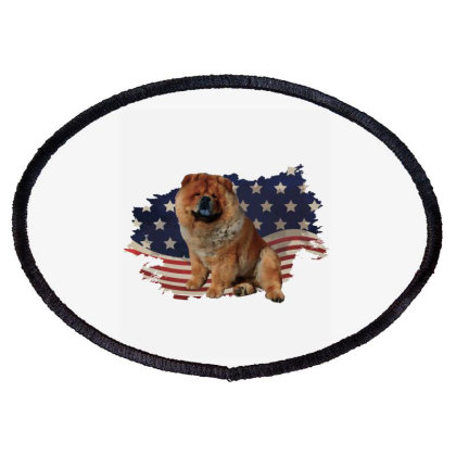 Chow Shepherd American Flag Usa Patriotic  4th Of July Gift Oval Patch Designed By Vip.pro123