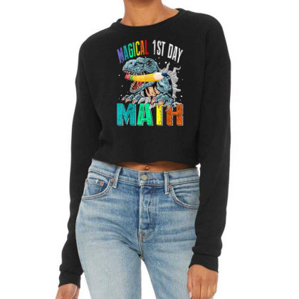Magical 1st Day Math Dinosaur Back To School Cropped Sweater Designed By Kakashop