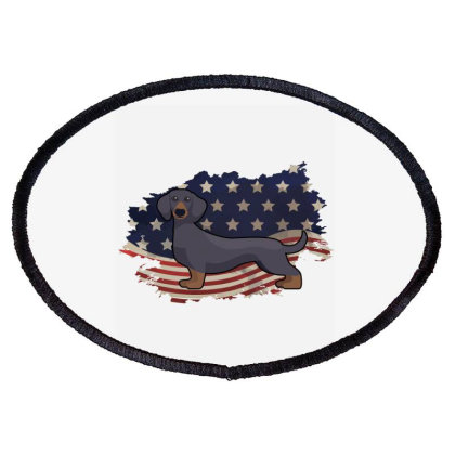 Dachshund American Flag Usa Patriotic  4th Of July Gift Oval Patch Designed By Vip.pro123