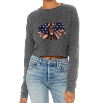 Doberman American Flag Usa Patriotic  4th Of July Gift Cropped Sweater Designed By Vip.pro123