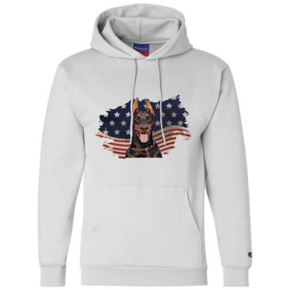 Doberman American Flag Usa Patriotic  4th Of July Gift Champion Hoodie Designed By Vip.pro123