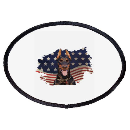 Doberman American Flag Usa Patriotic  4th Of July Gift Oval Patch Designed By Vip.pro123