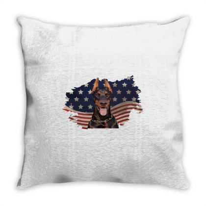 Doberman American Flag Usa Patriotic  4th Of July Gift Throw Pillow Designed By Vip.pro123