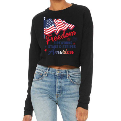 Freedom  Fireworks Stars & Stripes America American Flag Usa Patriotic Cropped Sweater Designed By Vip.pro123