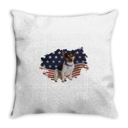 Terrier American Flag Usa Patriotic  4th Of July Gift Throw Pillow Designed By Vip.pro123