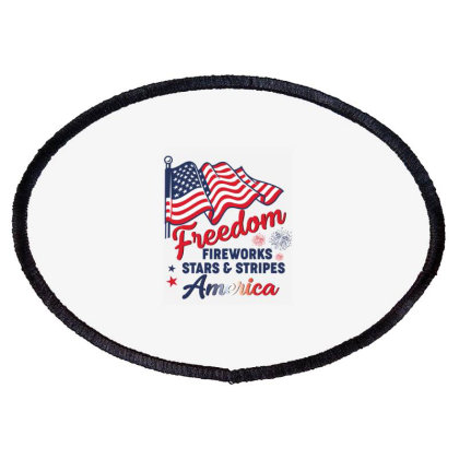 Freedom  Fireworks Stars & Stripes America American Flag Usa Patriotic Oval Patch Designed By Vip.pro123