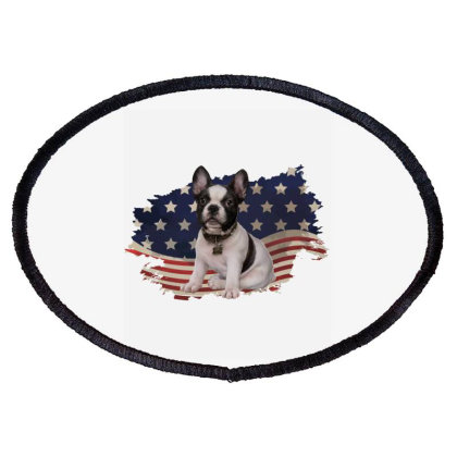 French Bulldog American Flag Usa Patriotic  4th Of July Gift Oval Patch Designed By Vip.pro123