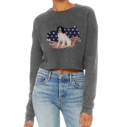 French Spaniel American Flag Usa Patriotic  4th Of July Gift Cropped Sweater Designed By Vip.pro123