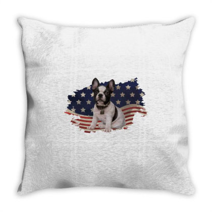 French Bulldog American Flag Usa Patriotic  4th Of July Gift Throw Pillow Designed By Vip.pro123