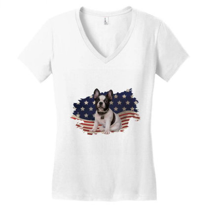 French Bulldog American Flag Usa Patriotic  4th Of July Gift Women's V-neck T-shirt Designed By Vip.pro123