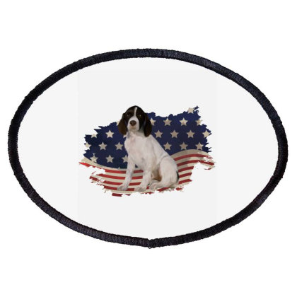 French Spaniel American Flag Usa Patriotic  4th Of July Gift Oval Patch Designed By Vip.pro123