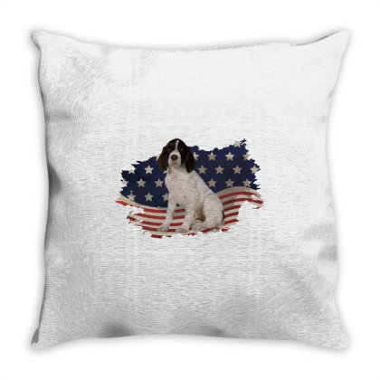 French Spaniel American Flag Usa Patriotic  4th Of July Gift Throw Pillow Designed By Vip.pro123