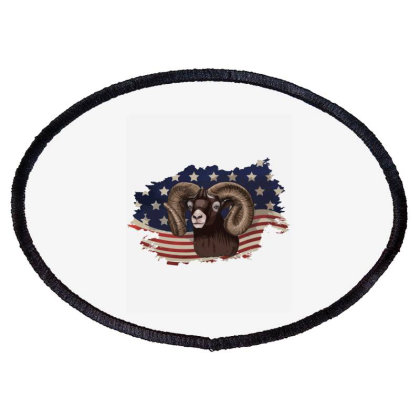 Goat American Flag Usa Patriotic  4th Of July Gift Oval Patch Designed By Vip.pro123