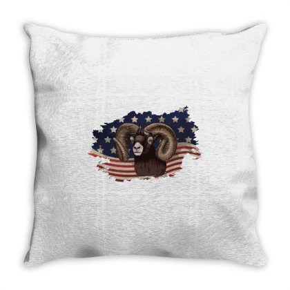 Goat American Flag Usa Patriotic  4th Of July Gift Throw Pillow Designed By Vip.pro123