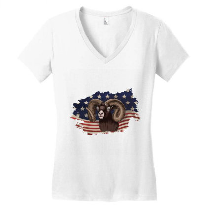 Goat American Flag Usa Patriotic  4th Of July Gift Women's V-neck T-shirt Designed By Vip.pro123