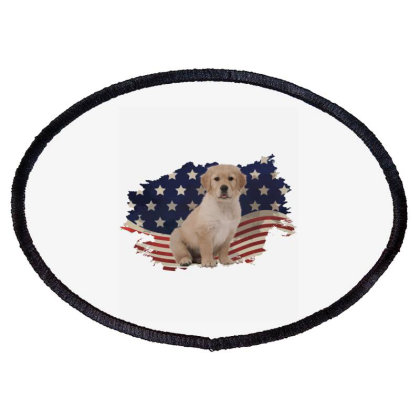 Golden Retriever American Flag Usa Patriotic  4th Of July Gift Oval Patch Designed By Vip.pro123