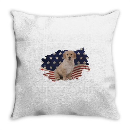 Golden Retriever American Flag Usa Patriotic  4th Of July Gift Throw Pillow Designed By Vip.pro123